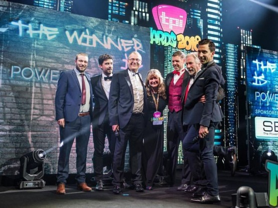 The Power Logistics' team onstage at the TPi Awards receiving their Favourite Power Supply Company award