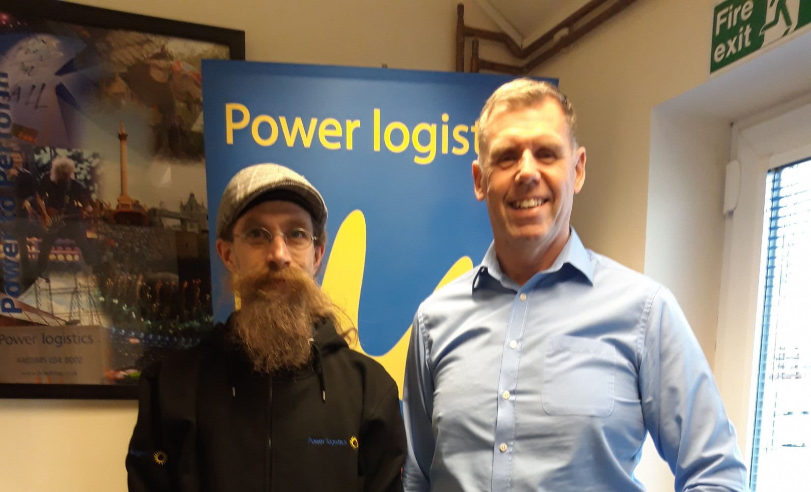 Power Logistics' managing director, Mike Whitehouse welcomes support engineer Dafydd Hirst to the research and development team